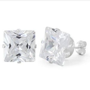 Jewelry - Sterling Silver Princess Cut 10mm CZ Stud